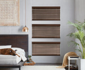 Bedroom Blinds Dark Brown Faux Wood Simple Lift By California Window