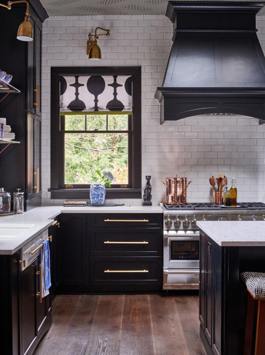 Black White Gold Kitchen California Window Fashions