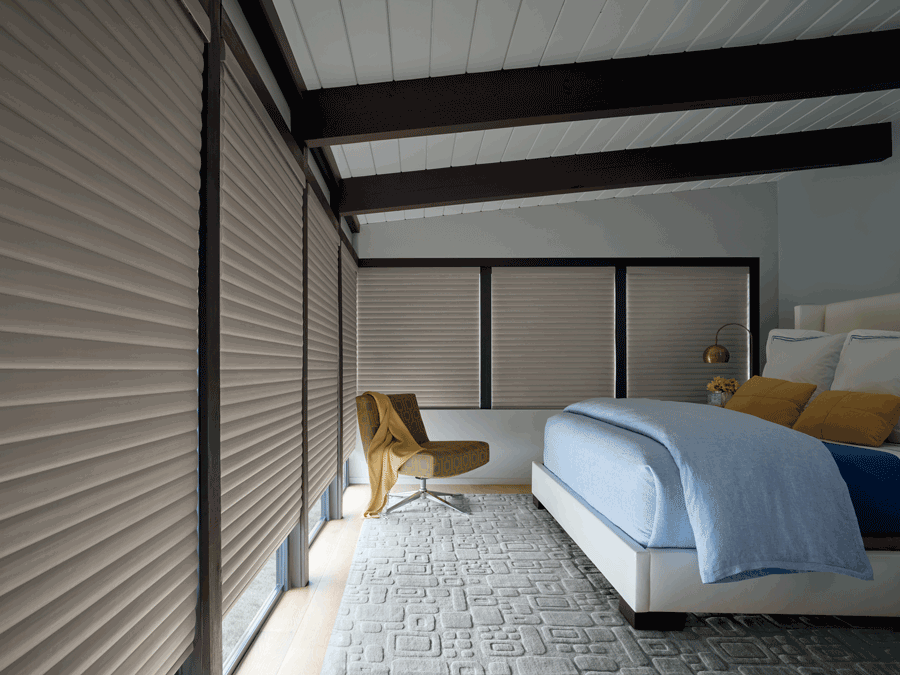 room darkening automated shades in a bedroom creative blinds