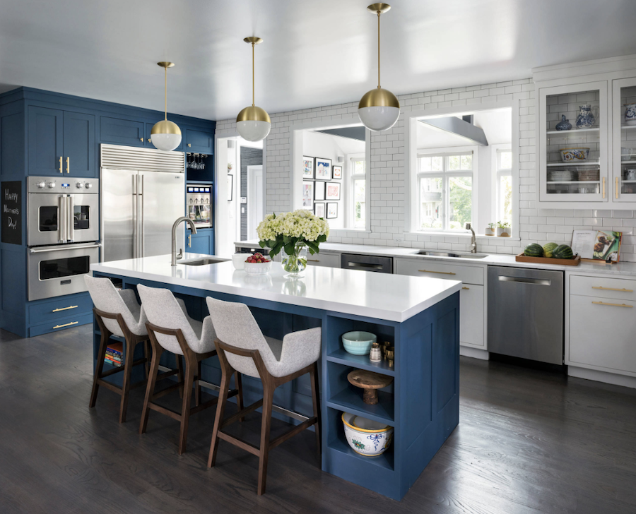 Blue Kitchen Cabinets White Gold Accents California Window Fashions