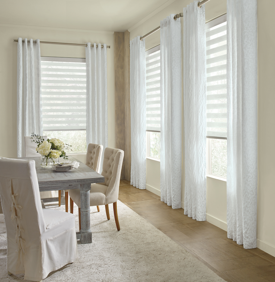 White Dries Shades Dining Room, Dining Room Windows
