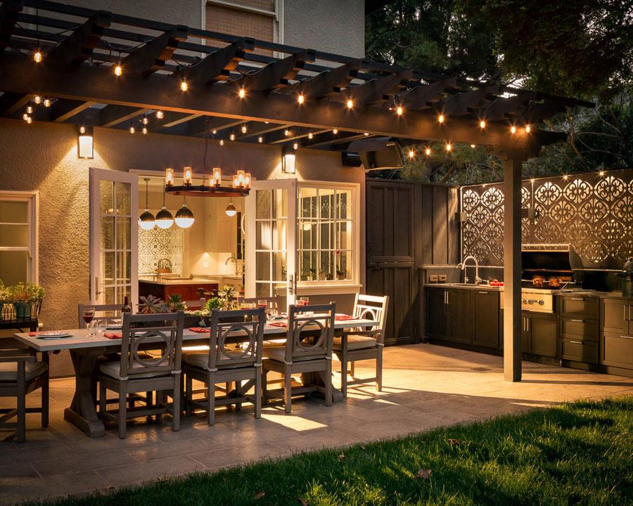 A backyard with a patio creative blinds